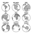 earth globe doodle planet sketched map america vector image