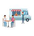fast food truck cartoon vector image