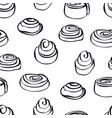 food collection cinnamon buns seamless pattern vector image