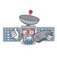 gamer satelite mascot cartoon style vector image vector image
