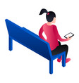 girl at laundry bench icon isometric style vector image