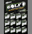 golf sport wall vertical calendar for 2020 one vector image