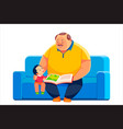 grandfather and grandson sit on sofa and read vector image vector image