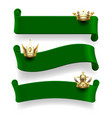 green ribbons with gold crowns vector image vector image