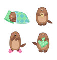 groundhog set 1 cartoon outlines vector image vector image