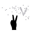 hand victory symbol silhouette birds isolated vector image