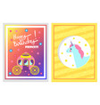 happy birthday unicorn card vector image