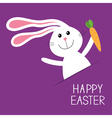 Happy Easter Bunny rabbit hare with carrot in the vector image