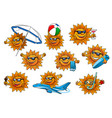 happy summer sun cartoon mascot set vector image vector image