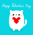 happy valentines day white baby cat kitten head vector image vector image