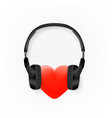 heart with headphones icon isolated on white vector image
