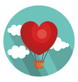 hot air balloon with heart shape vector image