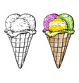 ice cream set black and white and colored vector image