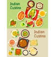 Indian cuisine dishes for restaurant menu design vector image vector image