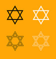 Jewish star of david set black and white icon vector image