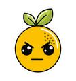 kawaii cute angry orange fruit vector image vector image