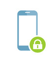 mobile phone icon with padlock sign vector image