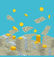 money falling to stacks vector image vector image