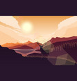mountains landscape with deer on hills at sunset vector image