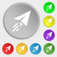 Paper airplane sign Symbol on eight flat buttons vector image