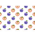 plum fruits and slice seamless pattern on white vector image