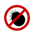 prohibition sign for soaked ticks on white vector image vector image