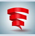 red ribbon banner zigzag three step vector image vector image