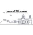 russia dagestan derbent citadel travel famous vector image vector image
