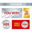 Scratch and win labels Scratch marks effect Winner vector image