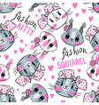 seamless pattern with faces cats and squirrel vector image vector image