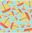 seamless pattern with ship cartoon style vector image