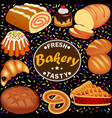 set fresh tasty pastries with roll loaf pie vector image vector image