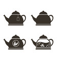 set of 4 teapots porcelain glass with brewed vector image vector image