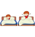 set of boy sleep and wake up vector image