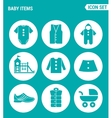 set of round icons white Baby items clothes vector image