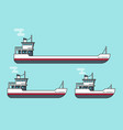 small and big transport ships flat cartoon line vector image