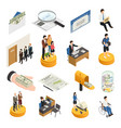 social security isometric icons vector image vector image