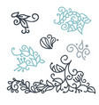 swirly scandinavian christmas line curl isolated vector image