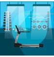 Treadmill in gym interior with equipment vector image