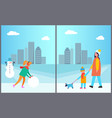 woman making snowman mother and son walking vector image vector image