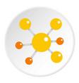 Yellow molecular model icon circle