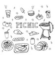 hand drawn doodle bbq party icons set vector image