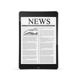 tablet with news article on screen vector image