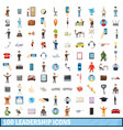 100 leadership icons set cartoon style vector image vector image