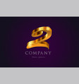 2 two gold golden number numeral digit logo icon vector image vector image