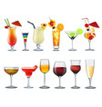 a set different bar glasses with wine and vector image