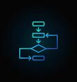 algorithm outline blue icon on dark