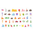 america set icons usa tourist attraction vector image vector image