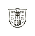 bbq club label in monochrome style invitation to vector image vector image