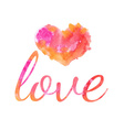 Beautiful watercolor heart vector image vector image